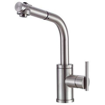 Danze Parma Single Handle Pull-Out Kitchen Faucet with SnapBack Retraction, Stainless Steel