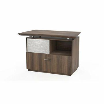 ''Reception Lateral File with Sliding Acrylic Door, Textured Brown Sugar''
