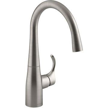 KOHLER Simplice Vibrant Stainless 1-Handle Deck-Mount High-Arc Handle Kitchen Faucet   K-22034-VS