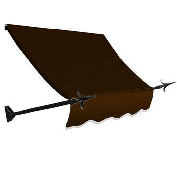 Awntech New Orleans 88.5-in Wide x 24-in Projection Brown Solid Open Slope Window/Door Fixed Awning