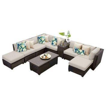 TK Classics Venice 10-Piece Outdoor Wicker Sofa Set, Beige