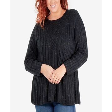 Speckled Cable-Knit Tunic Sweater