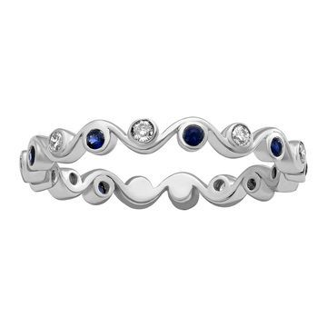 10k White Gold Diamonds and Blue Sapphires Eternity Band Ring by Beverly Hills Charm