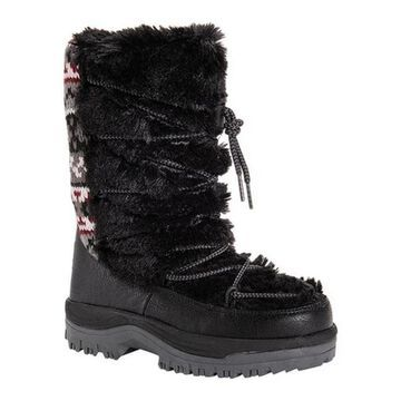 MUK LUKS Women's Massak Short Boot Ebony Polyester/Faux Fur/Acrylic
