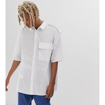 Noak oversized shirt in white paper touch fabric
