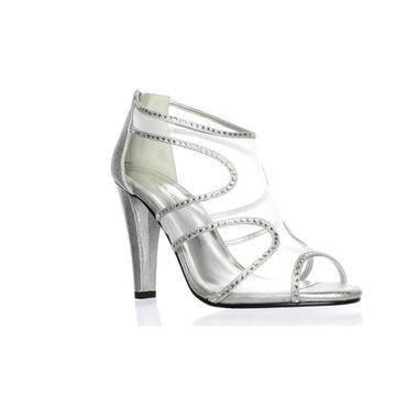 Caparros Womens Desire Silver Peep Toe Heels Size 8.5