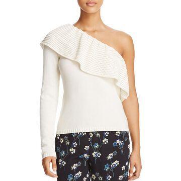 Ella Moss Womens Loli One Shoulder Ruffled Pullover Sweater