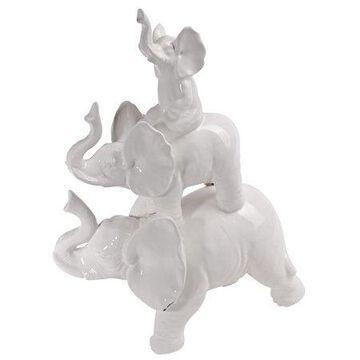 A&B Home White Elephant Figurine
