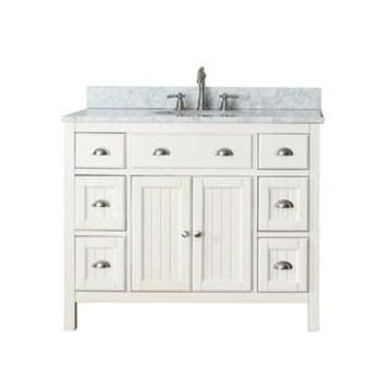 Avanity Hamilton French White 42-inch Vanity Combo with Top and Sink (Carrara White Marble)