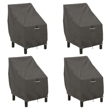 Classic Accessories Ravenna Water-Resistant 25.5 Inch High Back Patio Chair Cover, 4 Pack