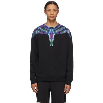 Marcelo Burlon County of Milan Black and Multicolor Chalk Wings Sweatshirt