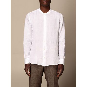Z Zegna shirt in washed linen with mandarin collar