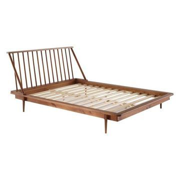 Offex Modern Wood Queen Spindle Bed, Caramel