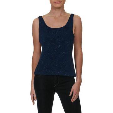 Alex Evenings Womens Knit Glitter Tank Top