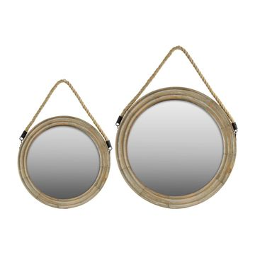 Wood Round Mirror with Rope Hanger Set Of Two Natural Finish