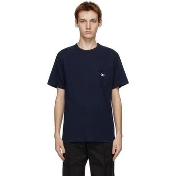 Maison Kitsune Navy Tricolor Fox Patch Pocket T-Shirt