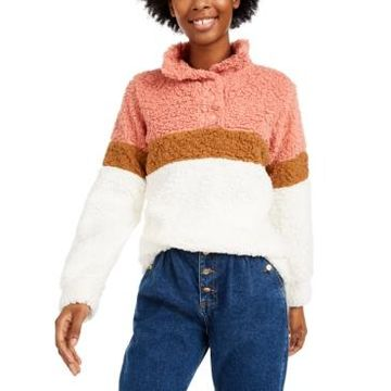 Planet Gold Juniors' Colorblocked Sherpa Pullover