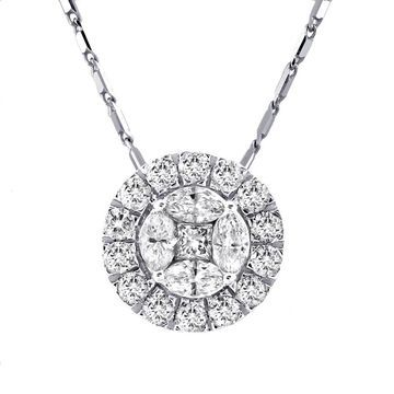 14k White Gold 1ct TDW Diamond Circular Halo Necklace by Beverly Hills Charm