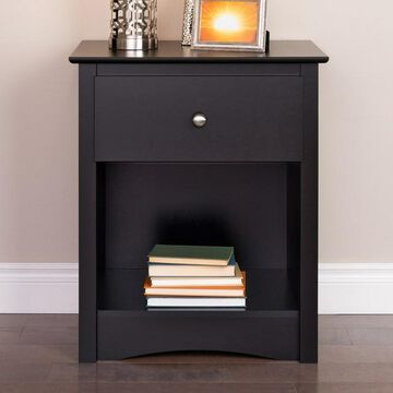Prepac 1-Drawer Tall Black Nightstand