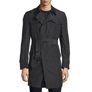 Long-Sleeve Belted Rain Coat