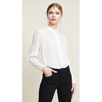 L'AGENCE Lucien Diamond Smocked Cuff Blouse