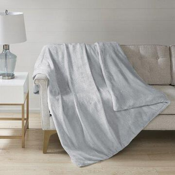 Comfort Classics Plush Solid Weighted Blanket With Removable Cover, Grey, 18lbs