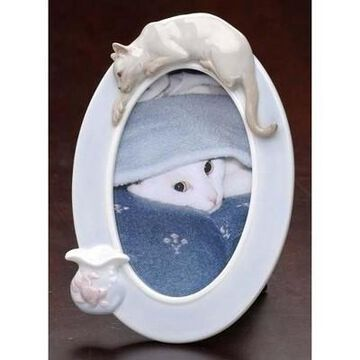 Roman Set of 12 Porcelain Siamese Cat and Fish Photo Picture Frames 4