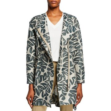 Tropical-Leaf Jacquard Hidden Zip Coat