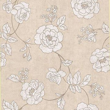 Kenneth James Madelaine Beige Outline Rose Wallpaper