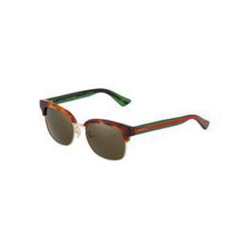 Acetate/Metal Brow-Line Sunglasses
