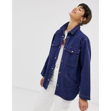 Monki denim overshirt with contrast stitching in dark blue