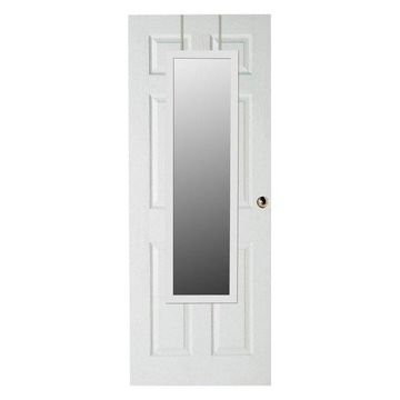 Home Basics Glass Over-the-Door Mirror, White