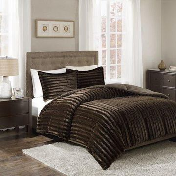 Home Essence York Faux Fur 3 Piece Polyester Filled Solid Comforter Set, King/Cal King, Chocolate/Brown