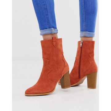 Glamorous rust stacked heel ankle boots-Red