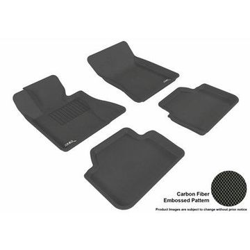 3D MAXpider Stylish Custom Fit All Weather Floor Mats for 2004-2010 BMW X3 (E83) Front & Second Row in Black with Carbon Fiber Look