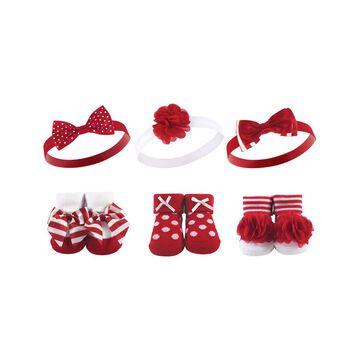 Hudson Baby Girls' Headbands Red/White - Red & White Polka Dot Socks & Bow Headband Set - Infant