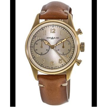 Montblanc 1858 Collection Champagne Dial Leather Strap Men's Watch 118223 118223