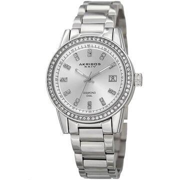 Akribos XXIV Women's Quartz Diamond Stainless Steel Silver-Tone Bracelet Watch (Silver-tone)