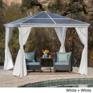 Aruba Outdoor 10 ft. Aluminum Gazebo with Hardtop by Christopher Knight Home (White Frame/White Fabric)