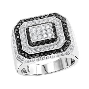 Statement Jewelry 14kt Gold White and Black Diamond Mens Ring 2.5ctw by Luxurman (Yellow - 5.5)