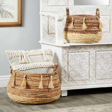 Studio 350 Round Natural Brown & Beige Banana Leaf Baskets w/ Beads & Tassels, Set of 2
