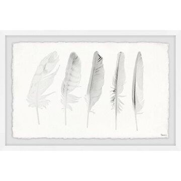 Parvez Taj Five White Feathers II Framed Wall Art