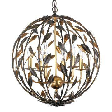 Crystorama Broche 6-Light English Bronze + Antique Gold Transitional Chandelier   506-EB-GA