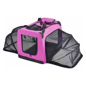 Hounda Accordion Collapsible Dual-Sided Expandable Pet Crate, Pink, Large