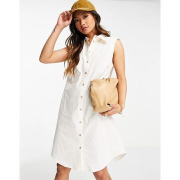 Y.A.S organic cotton sleeveless mini shirt dress in white