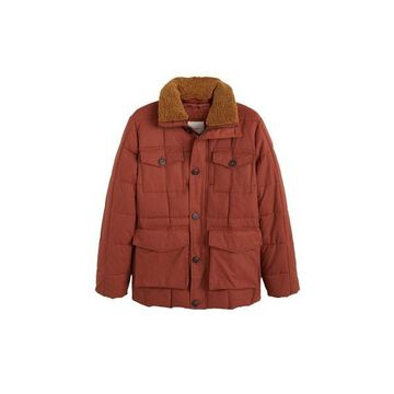 MANGO MAN Faux shearling collar quilted jacket