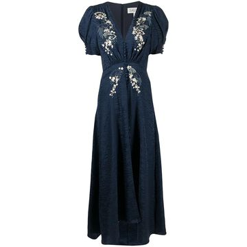 floral embroidered flared dress