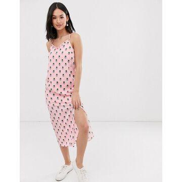 Daisy Street cami strap midi dress with thigh split in graphic polka dot