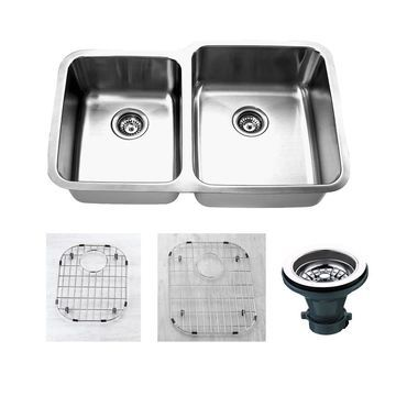 Empire 32 Inch Undermount 45/55 Double Bowl 16 Gauge Stainless Steel Kitchen Sink Set Soundproofing