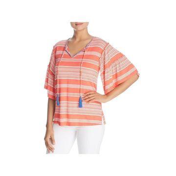 Cupio Womens Blouse Striped Short Sleeves